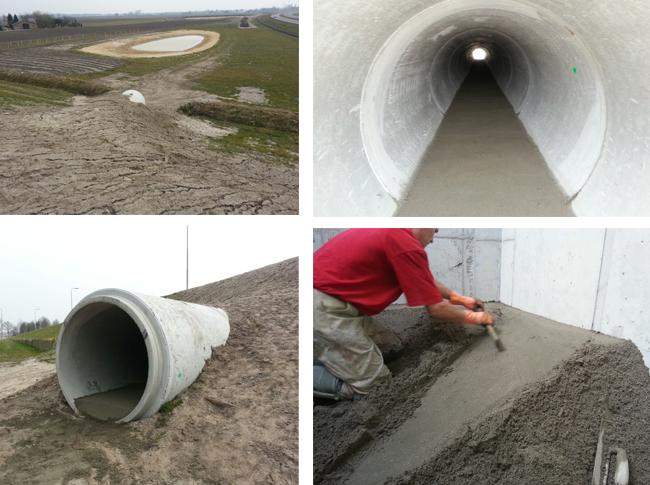 Bijzonder project: realisatie van cementdekvloer in flora en fauna tunnels met mobiele wateraanvoer.